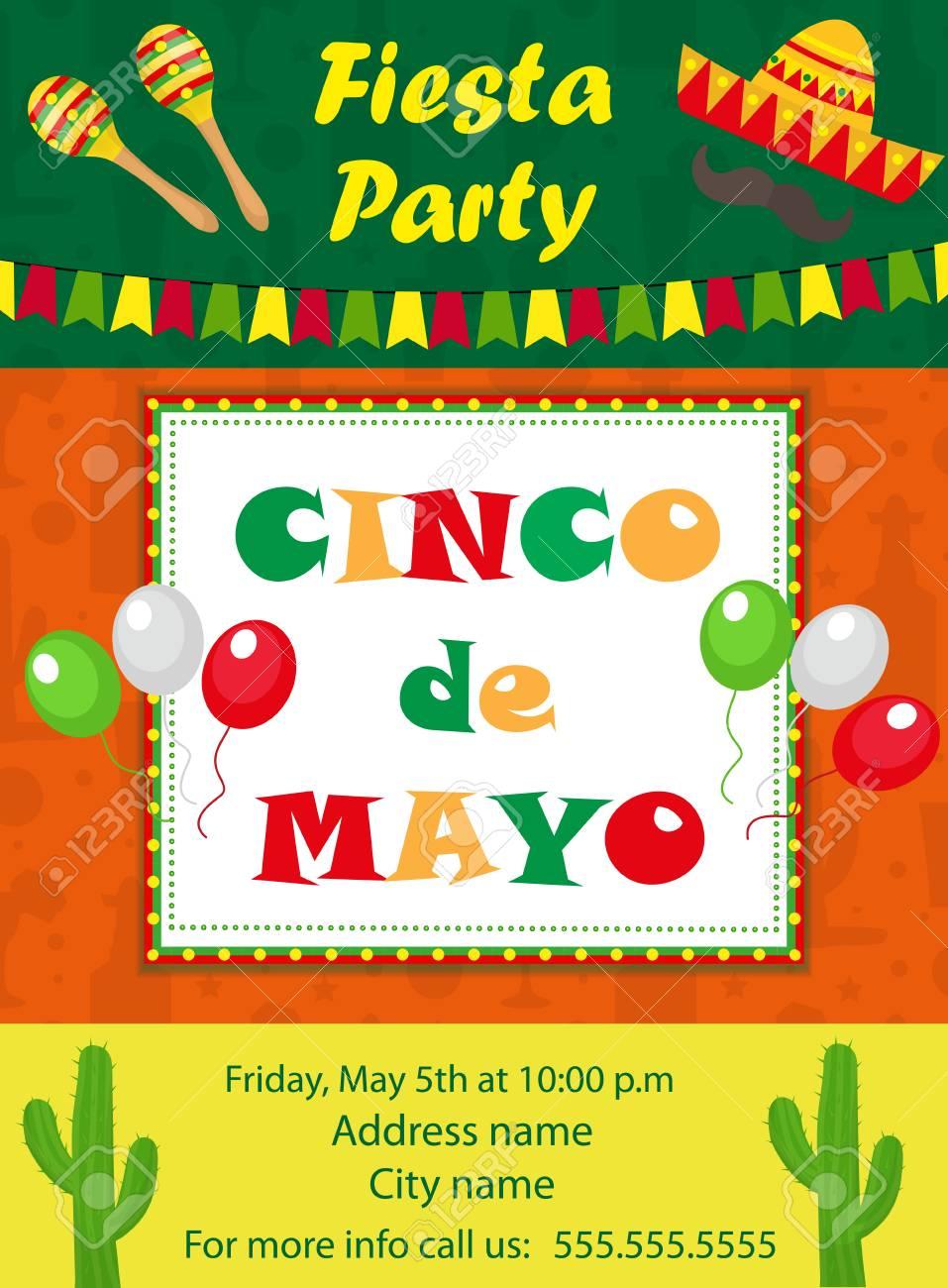 cinco de mayo invitation template flyer mexican holiday postcard