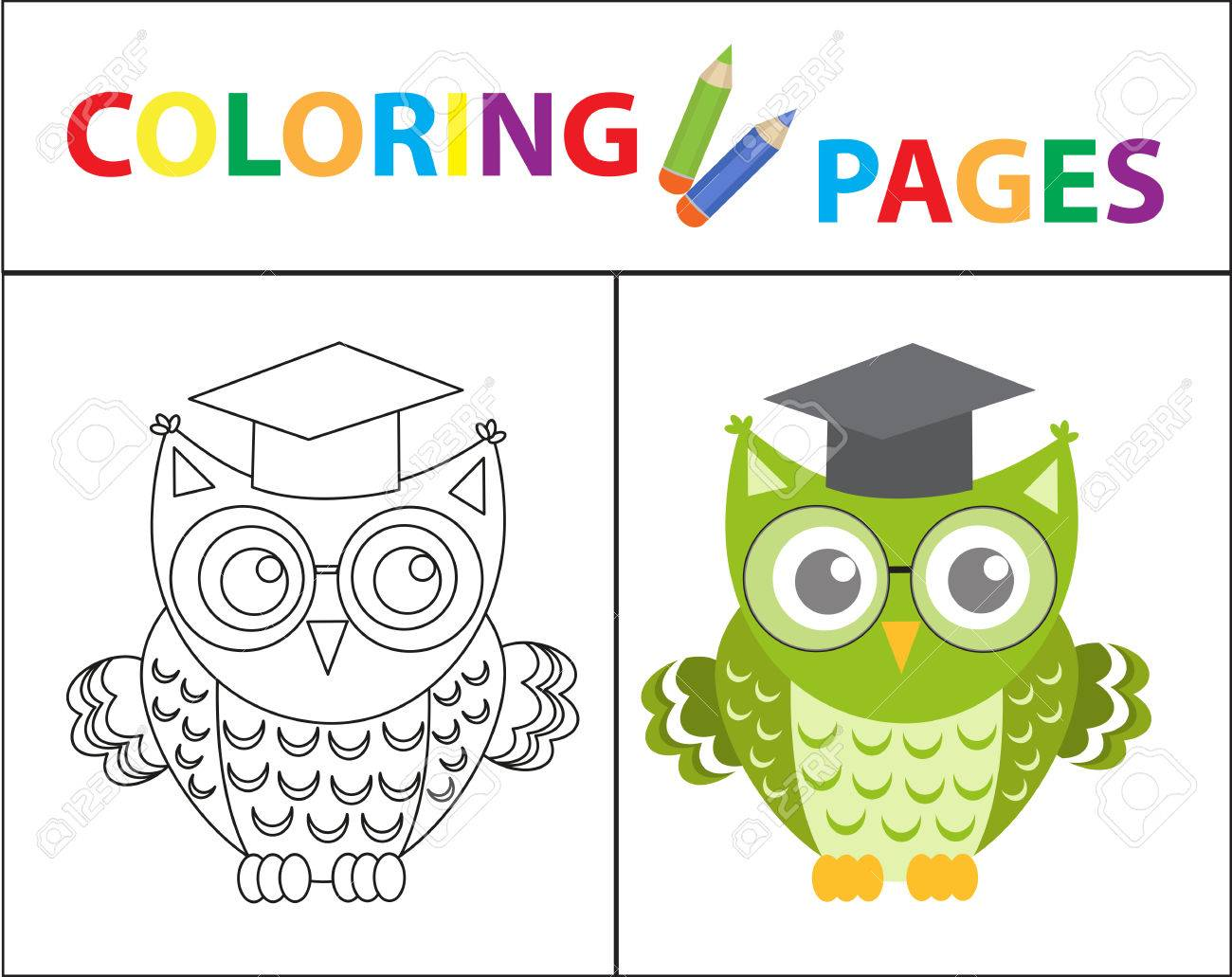 Coloring Book Page Wise Owl Wearing Glasses Sketch Outline And Color Version For
