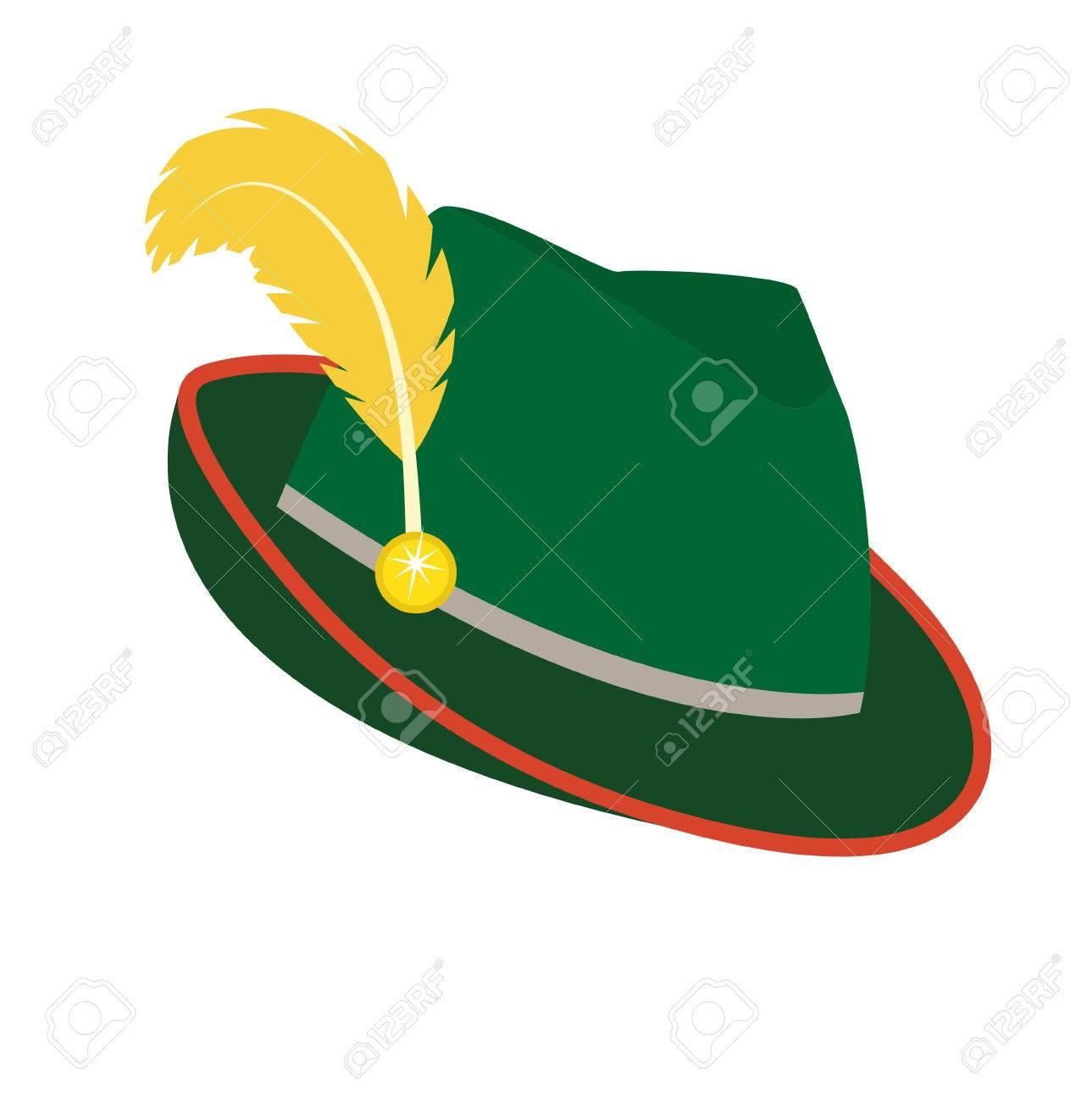 363da9751ec6d Foto de archivo - Oktoberfest sombrero icono estilo plano. Aislados en  fondo blanco. Sombrero alemán nacional verde. Ilustración del vector