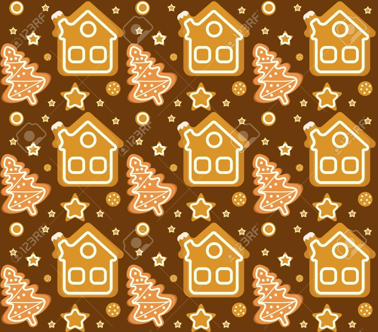 クリスマス ジンジャーブレッドハウス作りシームレス パターン