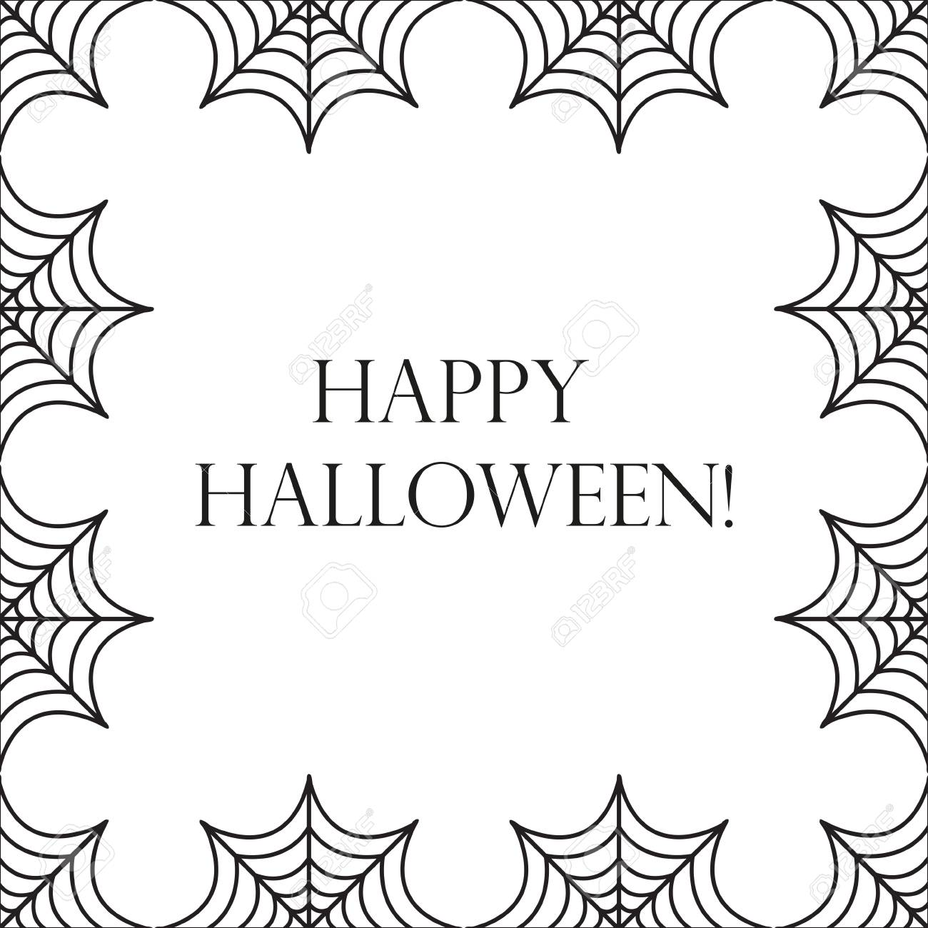 halloween square frame for text with spider web template for