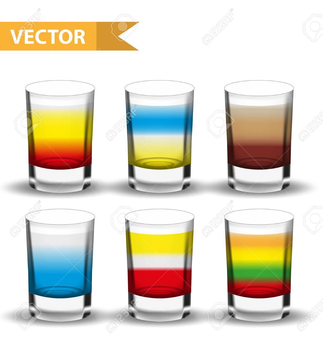 Realistische Set-Shots-Cocktails. 3d Schoss Mit Getränken Für Bars ...