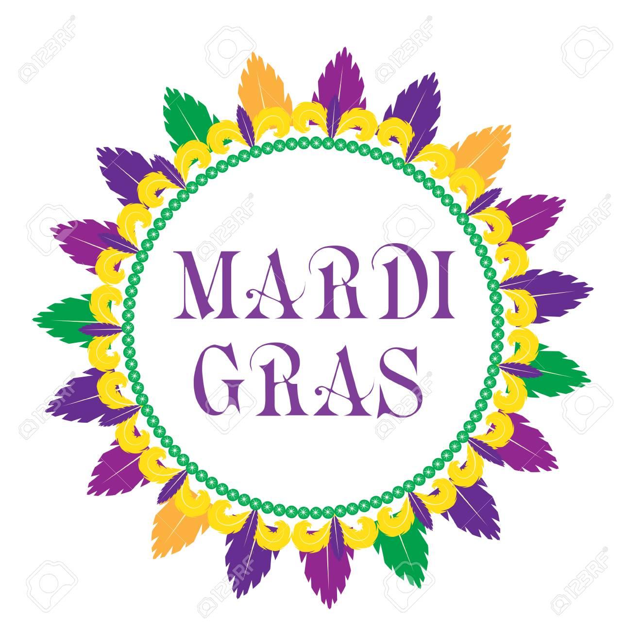 Plantilla De Marco De Mardi Gras Con Espacio Para Texto. Aislado En ...