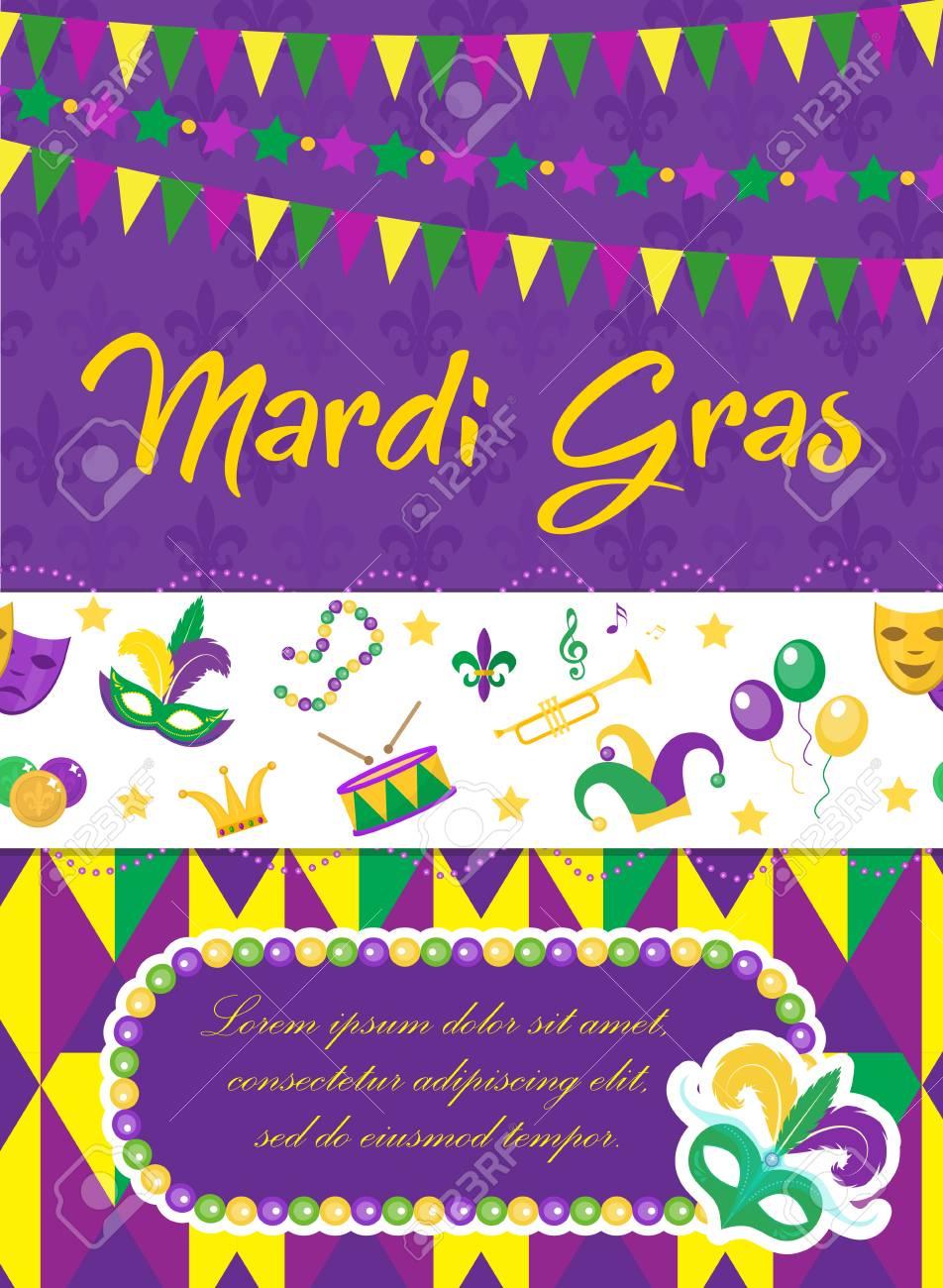 mardi gras carnival poster invitation greeting card happy
