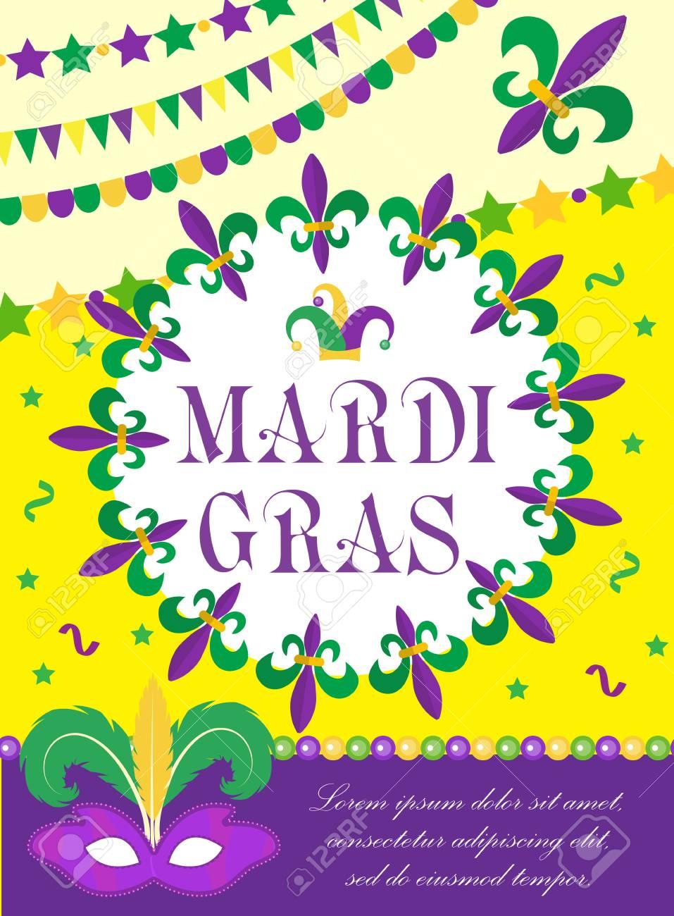 Mardi Gras carnival poster, invitation, greeting card. Happy Mardi Gras Template for your
