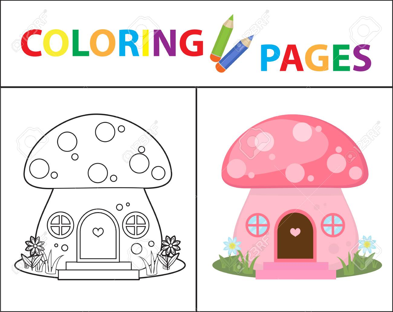 Coloring Book Page Mushroom House Sketch Outline And Color