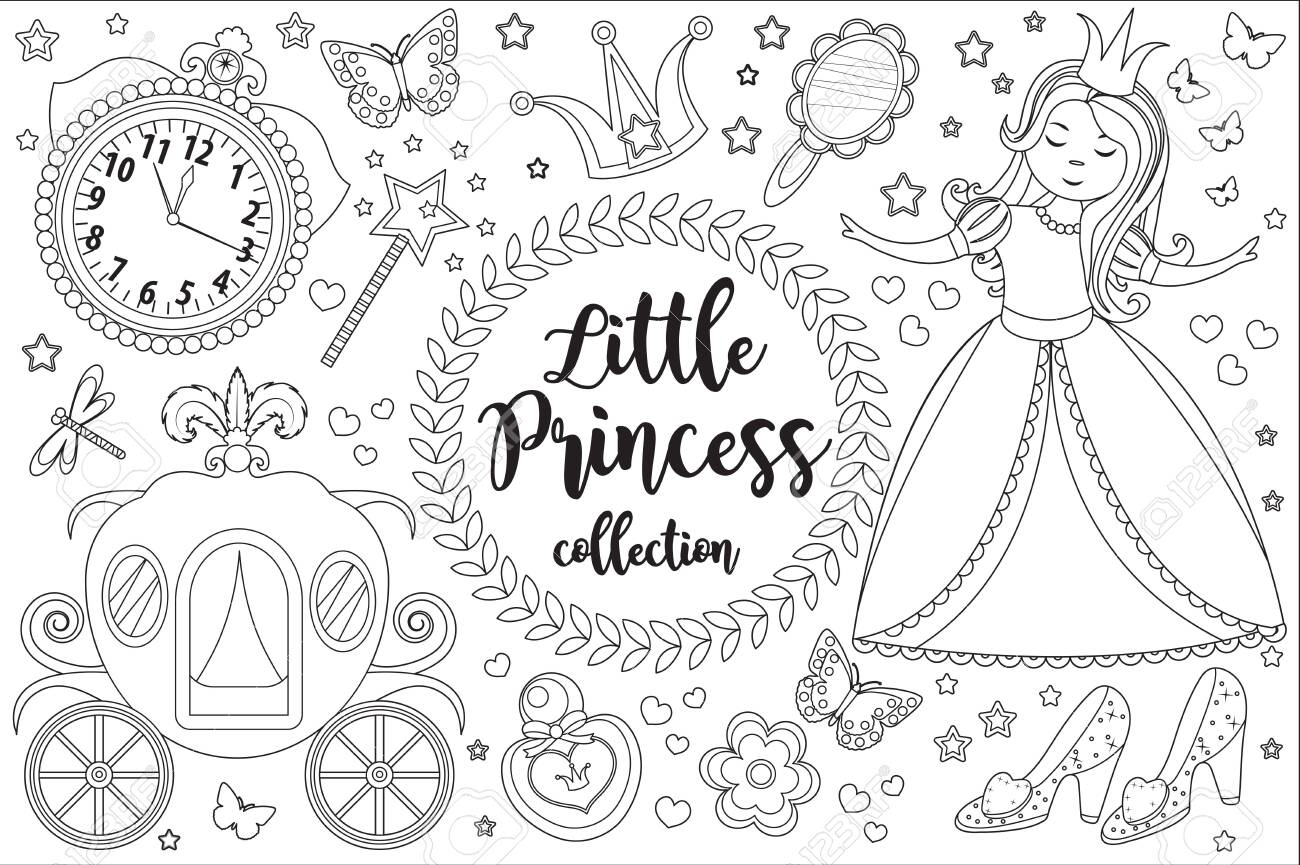 - Cute Little Princess Cinderella Set Coloring Book Page For Kids