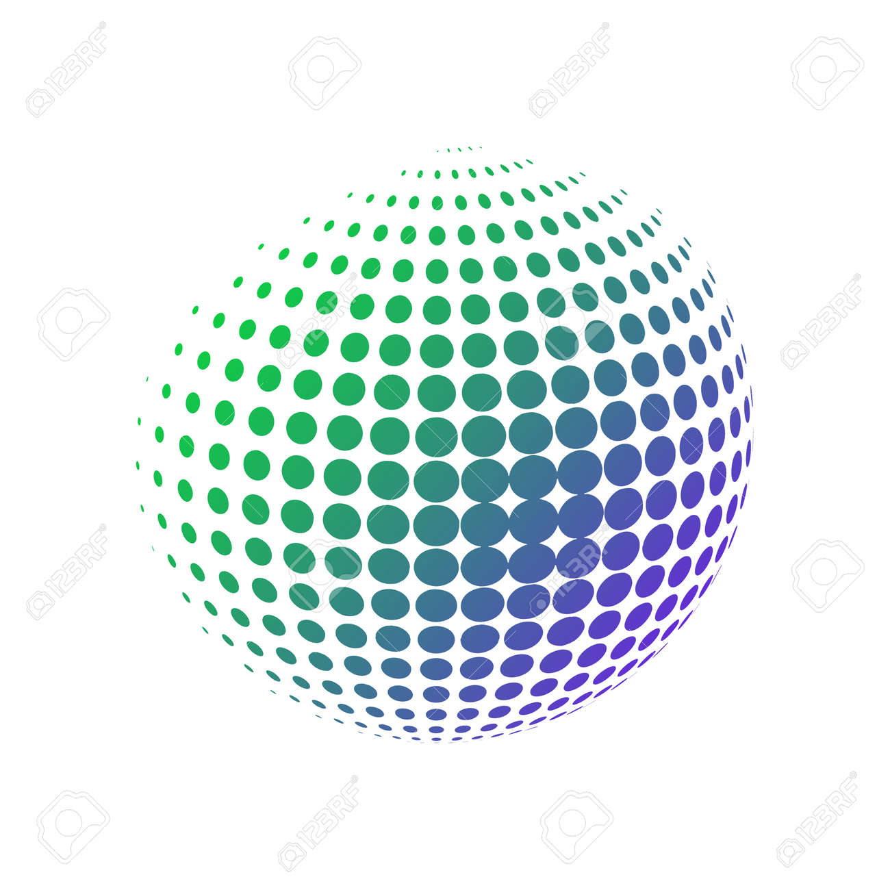 Geometric sphere made of dots with a gradient green blue colors. Halftone vector illustration. 3D ball in a modern minimalistic style - 158311101