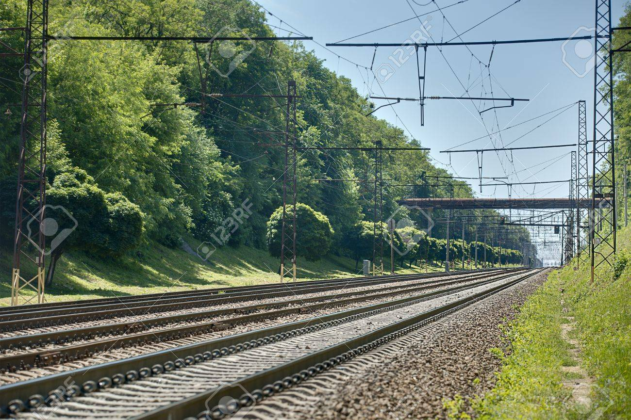 Background image rails - Rails Perspective On Green Background Summer Nature Kiev Ukraine Stock
