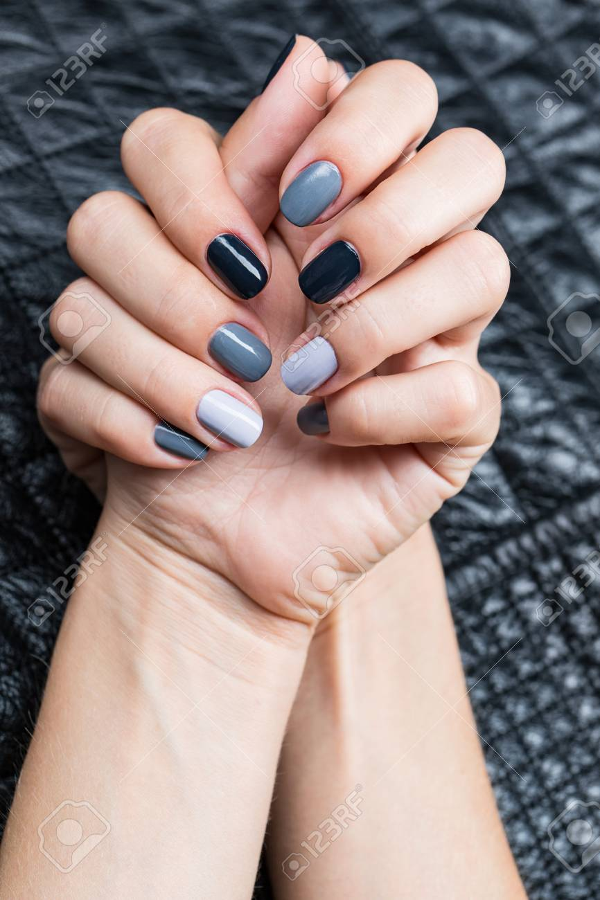 Women S Hands With A Stylish Manicure On Each Nail Lacquer Struck Stock Photo Picture And Royalty Free Image Image 43227368
