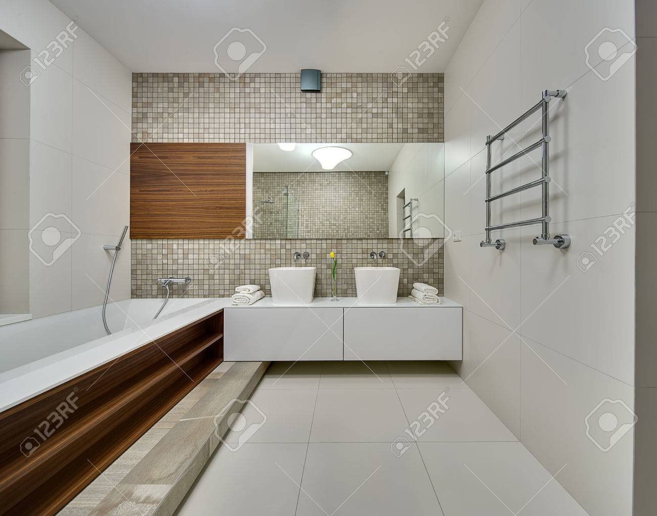 Bathroom In A Modern Style With Light Tiles On The Walls And.. Stock ...