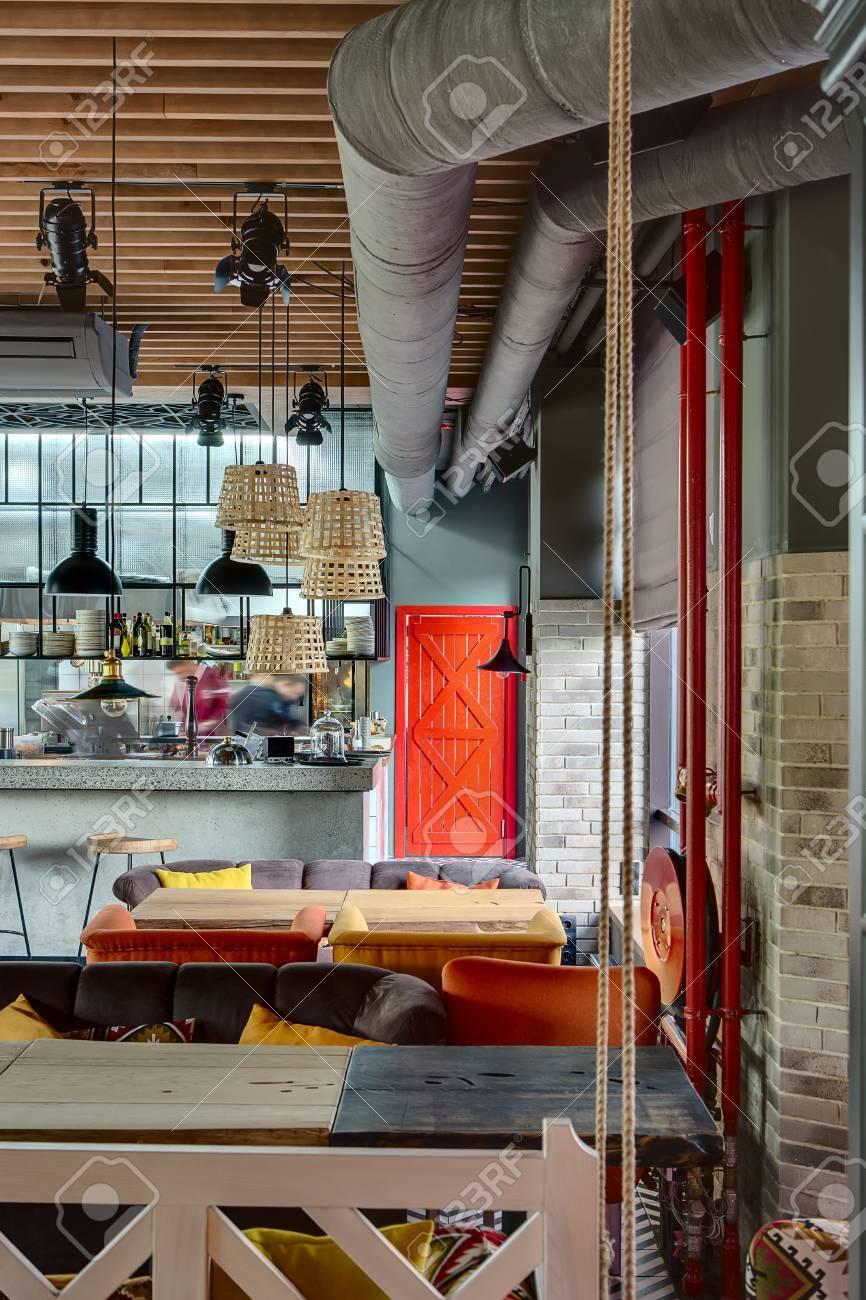 Wunderbare Offene Küche In Einem Mexikanischen Restaurant In Einem ...