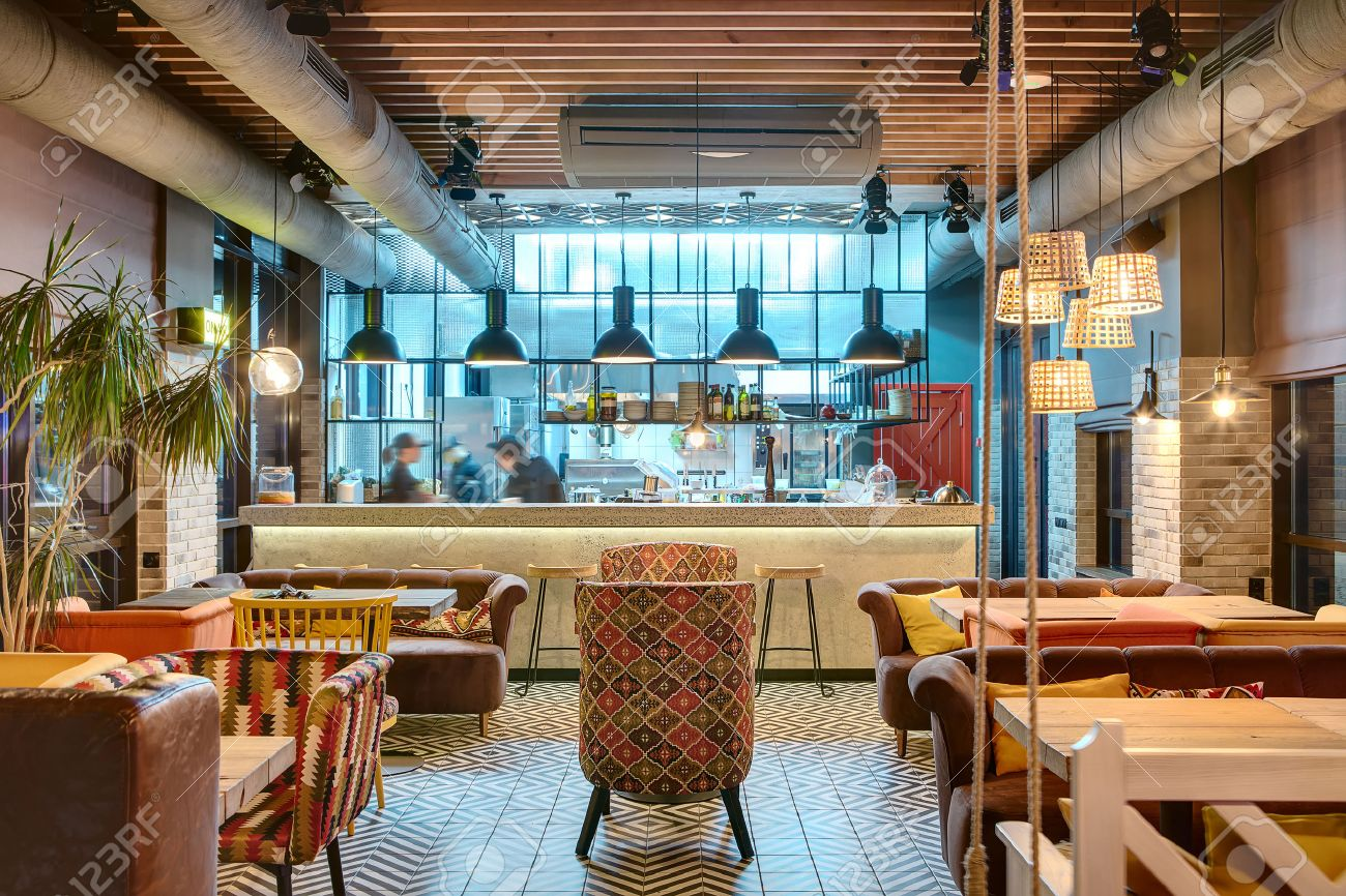 Glowing Interior In A Loft Style In A Mexican Restaurant With ...