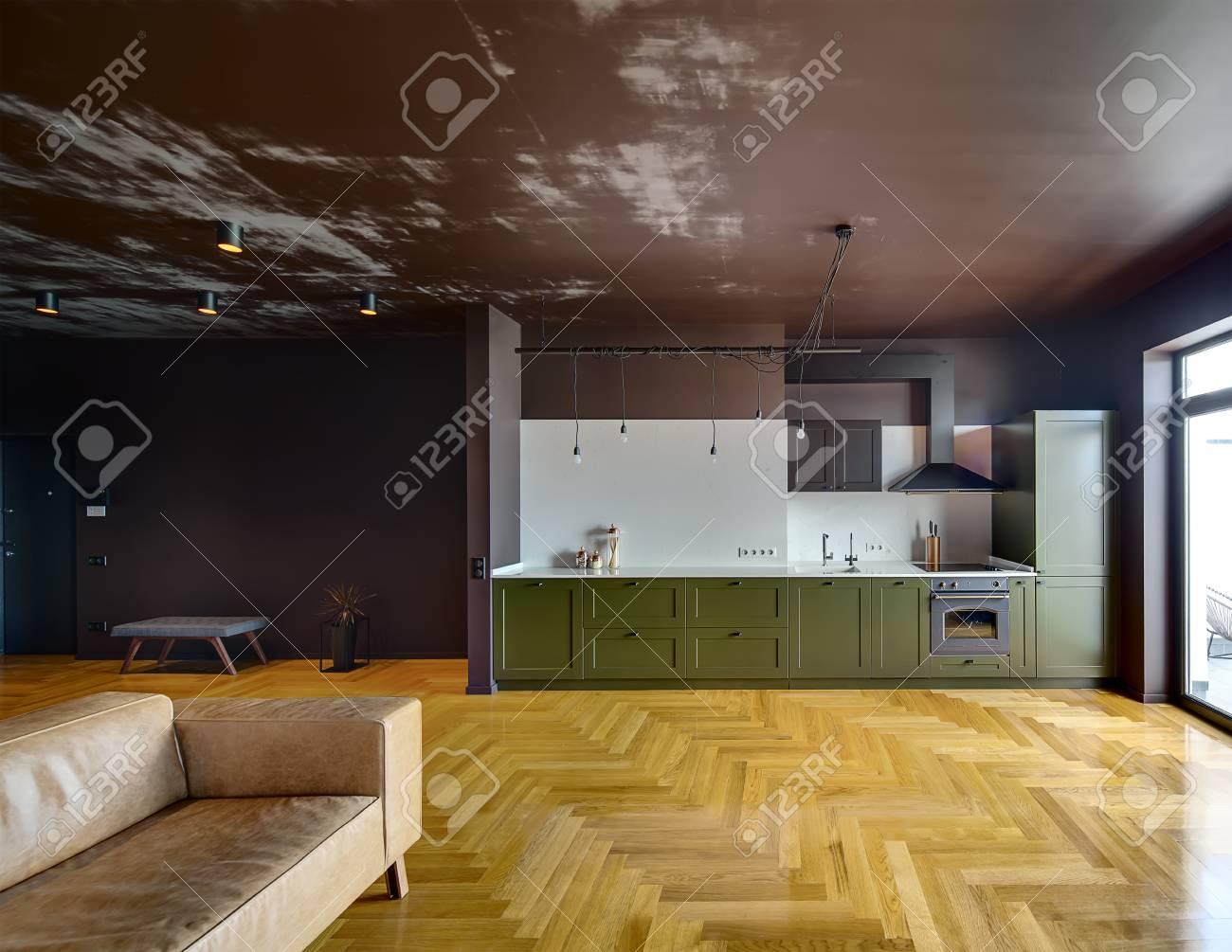 Plante Pour Cuisine Sombre appartement dans un style moderne avec des murs sombres et parquet à  l'étage. il y a une cuisine verte avec équipement de cuisine, canapé  marron,