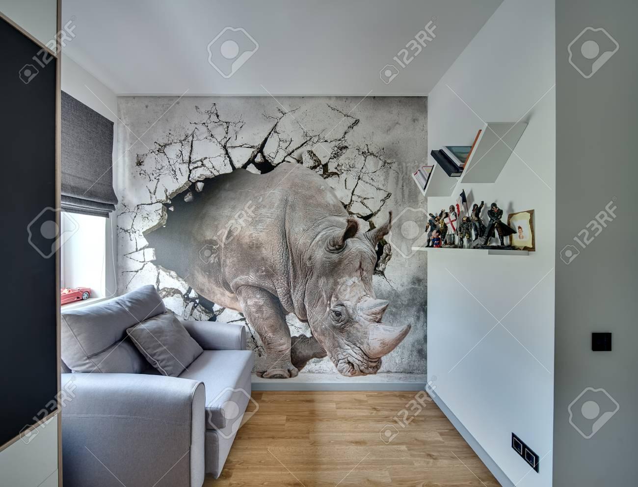 Pareti Con Fotografie : Immagini stock parete con stampa nella stanza in stile moderno