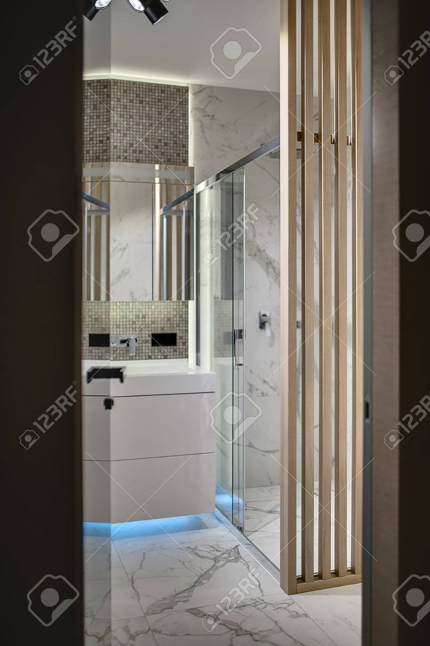 Tür Zum Badezimmer Im Innenraum In Einem Modernen Stil. Es Gibt Eine ...