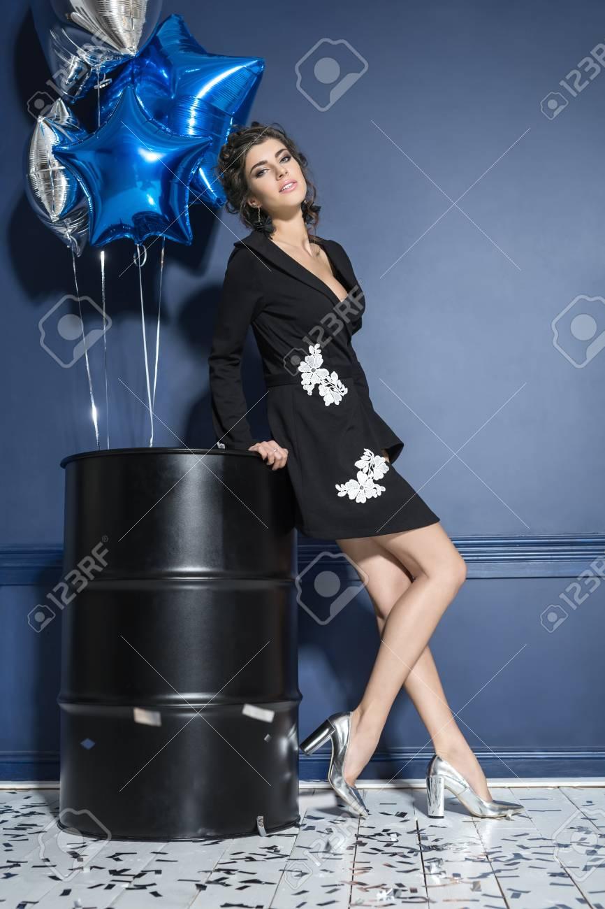 Vestidos de color azul con plateado