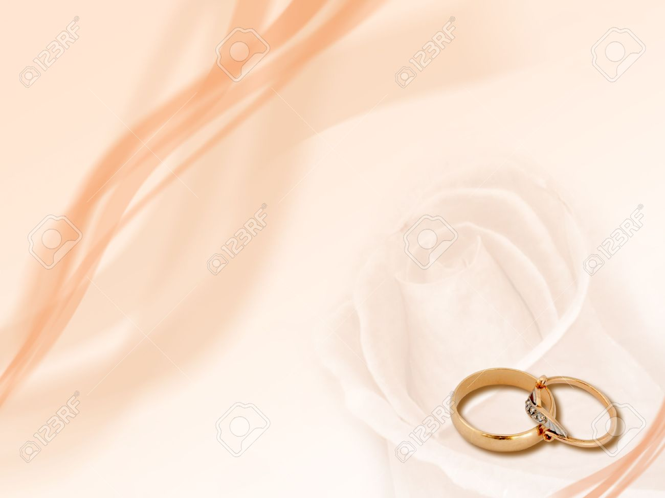 Design Two Wedding Golden Rings On Smooth Background Stock Photo
