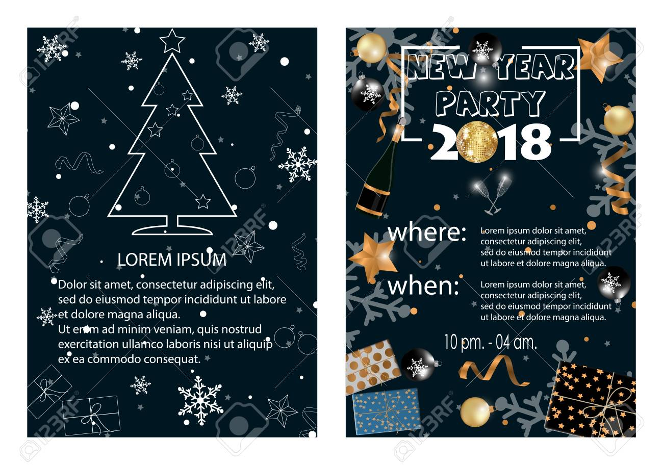new year 2018 party invitation vector illustration stock vector 91343969