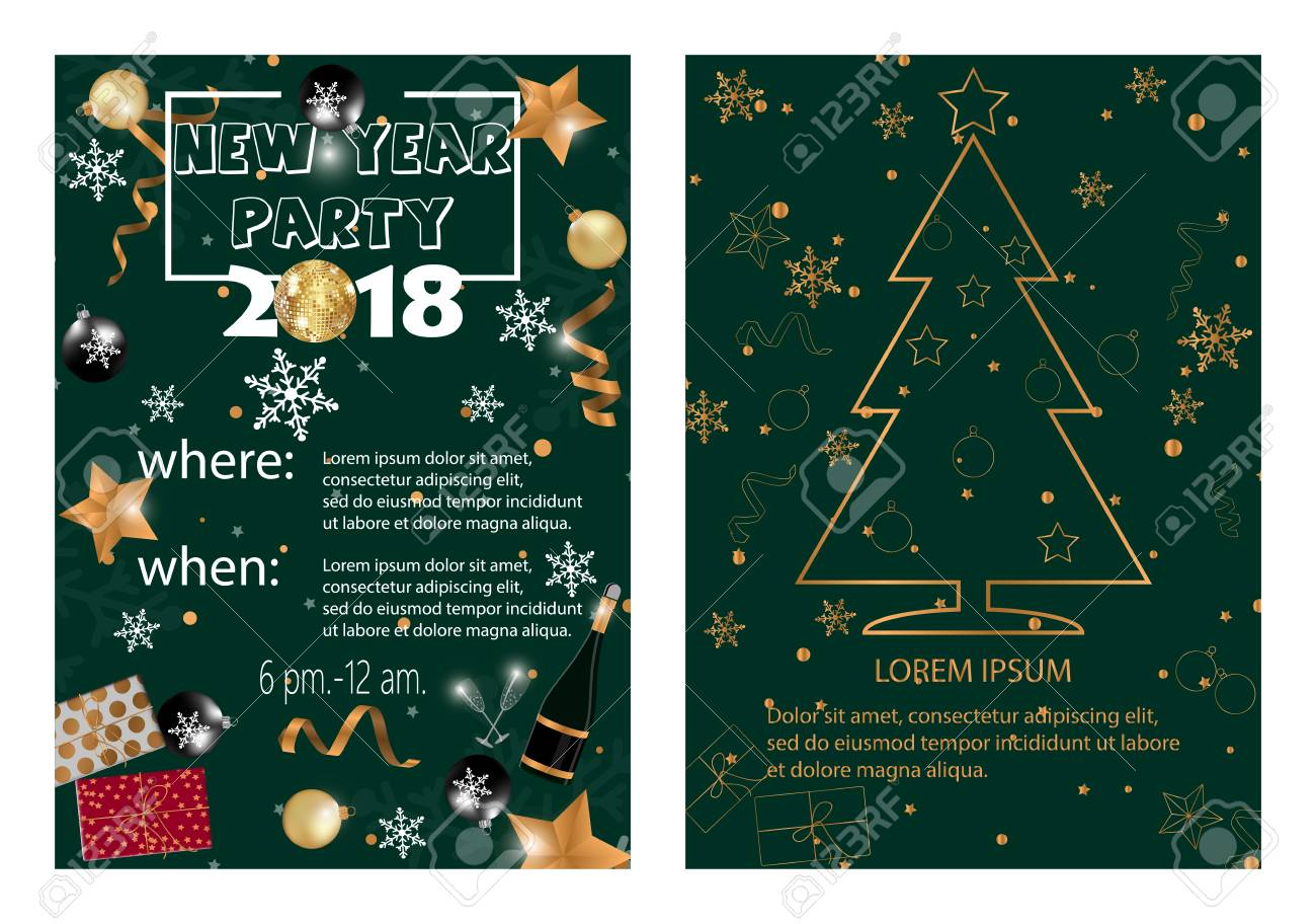 new year 2018 party invitation card stock vector 91354874