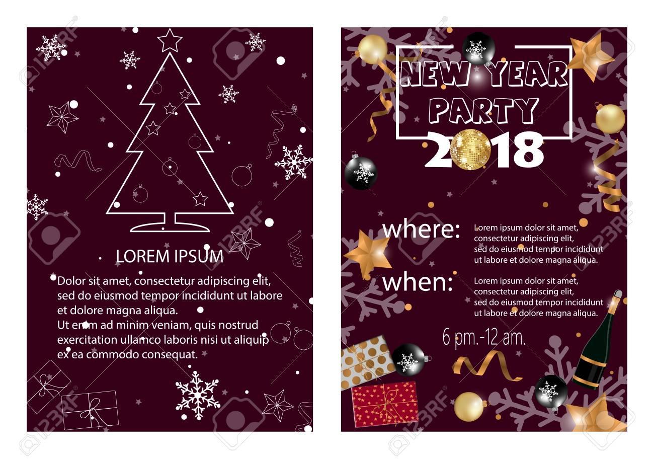 New Year 2018 Party Invitation Card Clip Art Libres De Droits