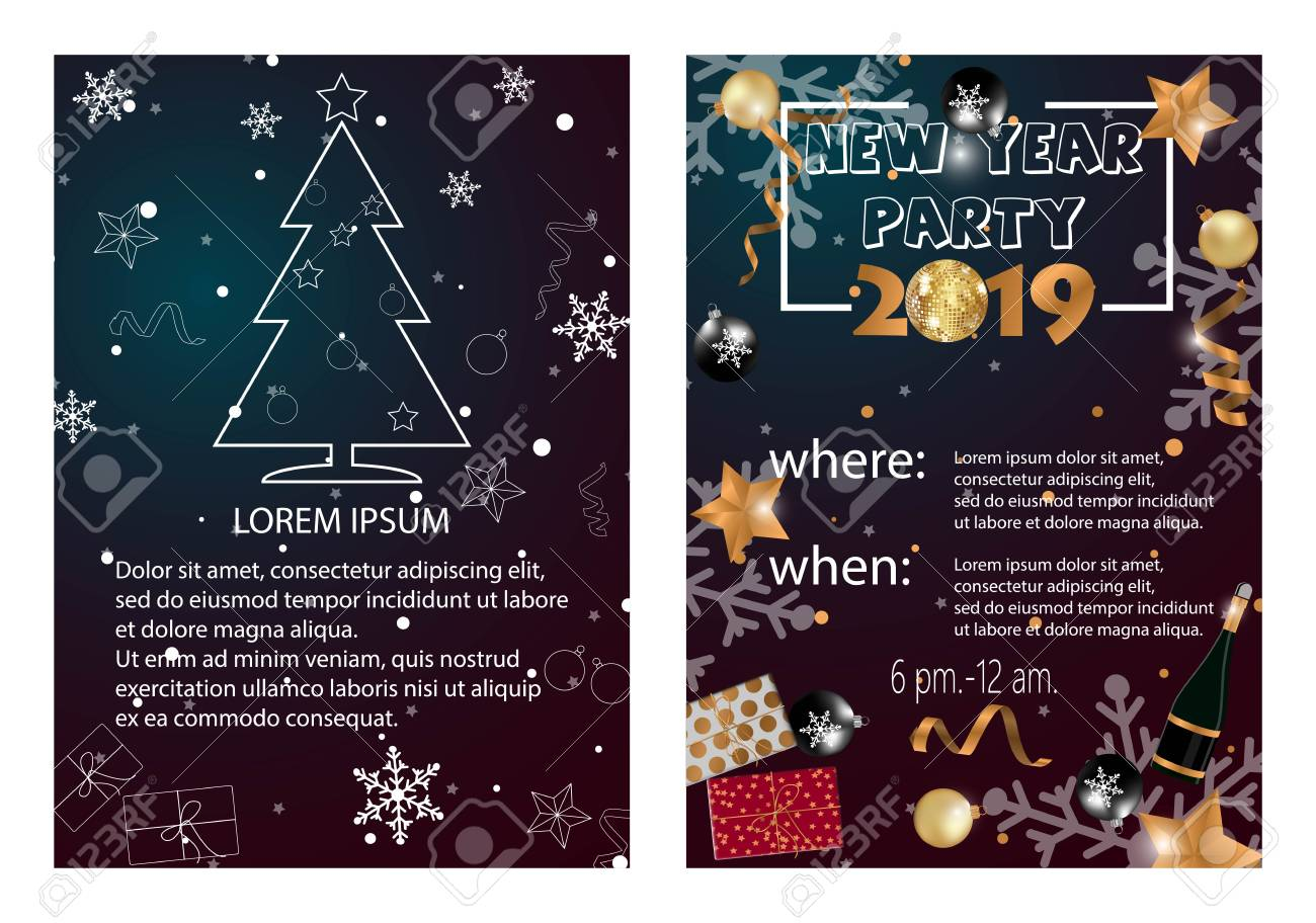 2019 happy new year card or christmas themed invitations stock photo 98092247