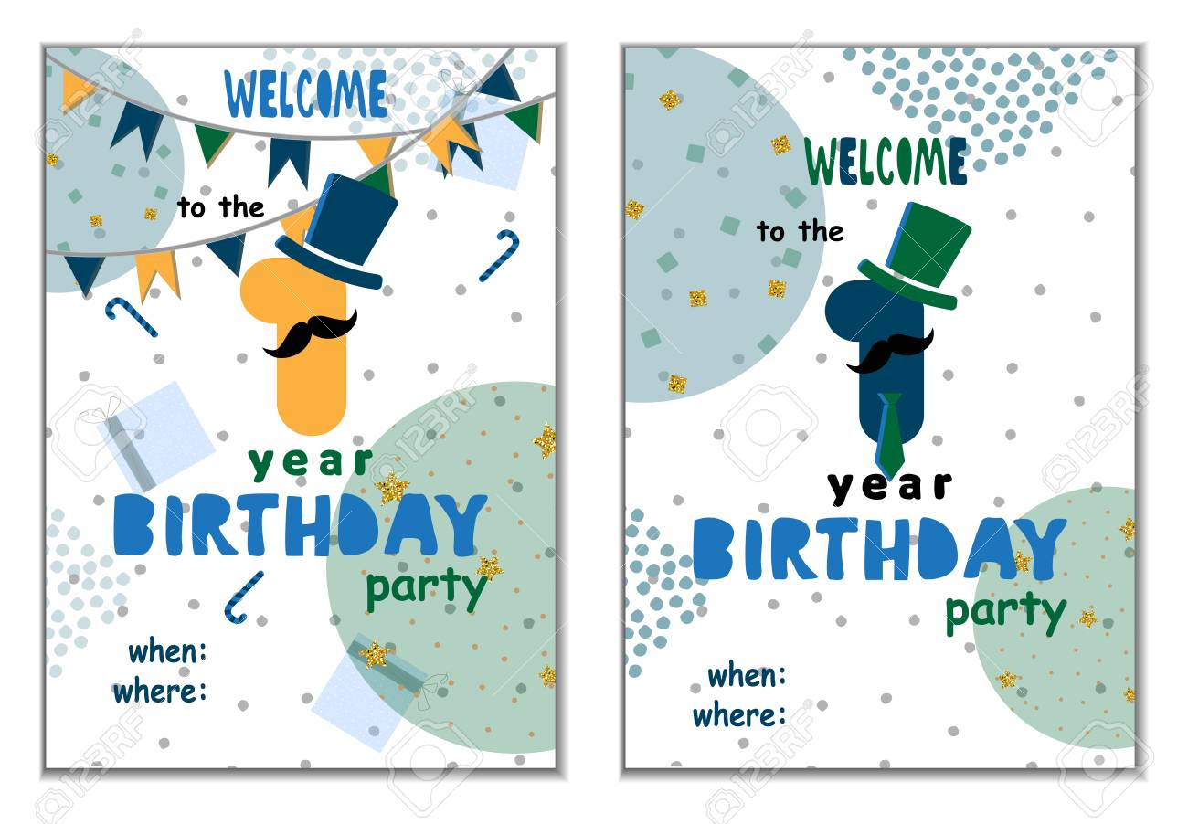 Set Of Happy Birthday Cards Design For One Year Old Baby Vector Illustration Stock