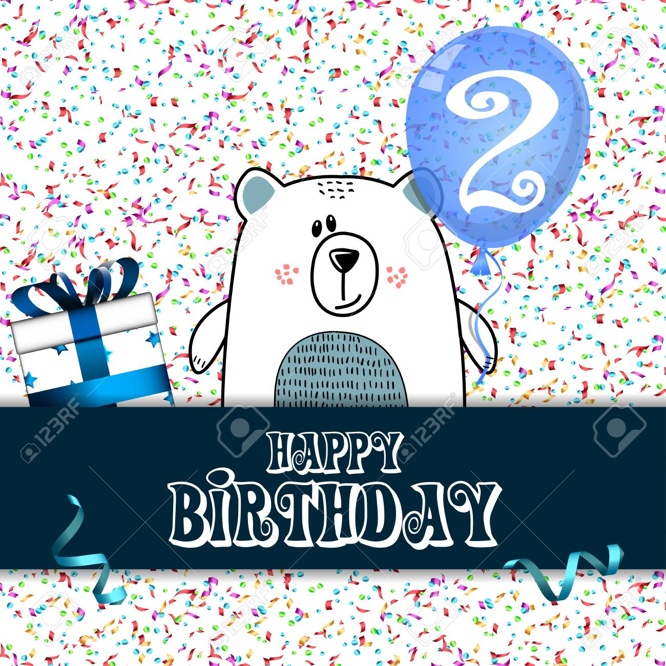Happy Birthday Card Design For Two Year Old Baby Vector Illustration