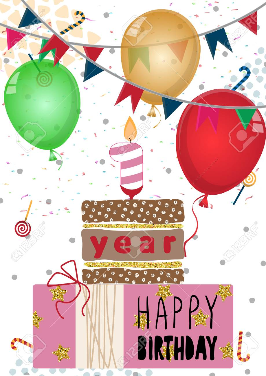 Happy Birthday Card Design For One Year Old Baby Vector Illustration Stock