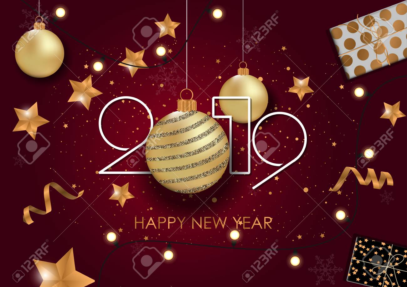 Happy New Year 2019 Card for your design. Vector illustration - 109777105