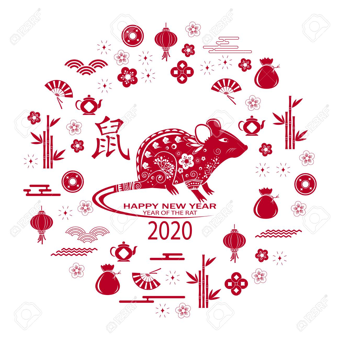 Chinese New Year 2020.Happy Chinese New Year 2020 Card With Rat Chinese Translation