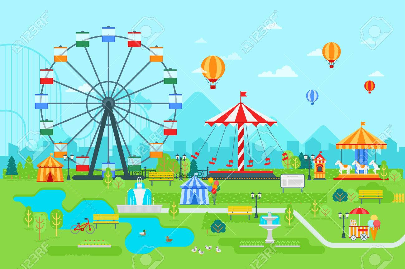 amusement park vector flat illustration at daytime with ferris