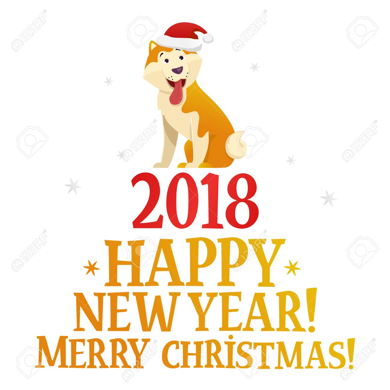 merry christmas and happy new year postcard template with the cute yellow dog stock vector