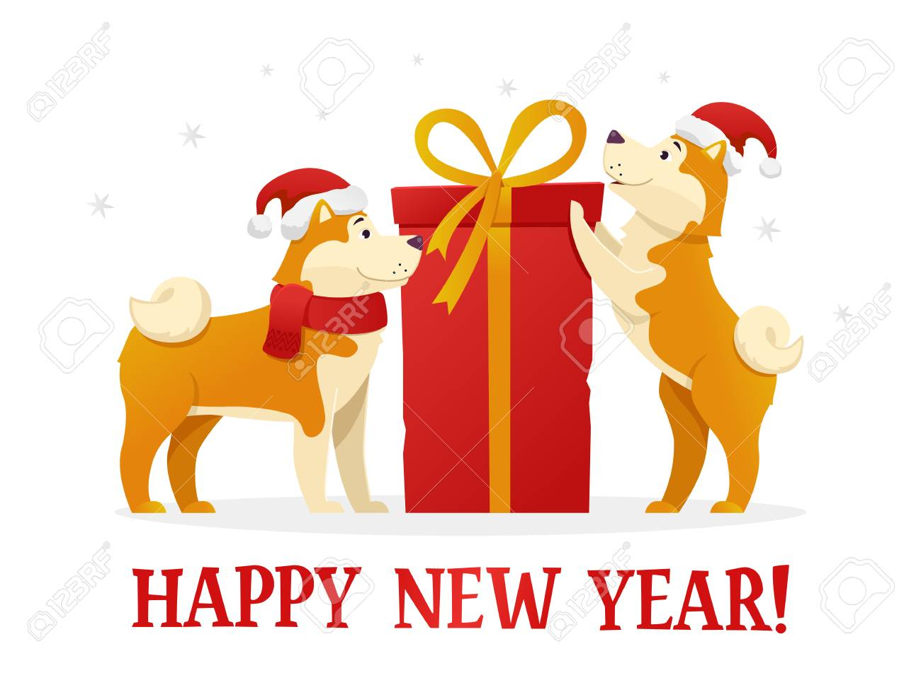 Happy new year 2018 postcard template with two cute yellow dogs happy new year 2018 postcard template with two cute yellow dogs with the dig red gift negle Image collections