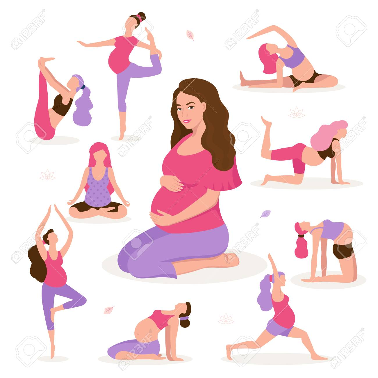 Pretty Pregnant Woman Doing Yoga Having Healthy Lifestyle And Stock Photo Picture And Royalty Free Image Image 107596839