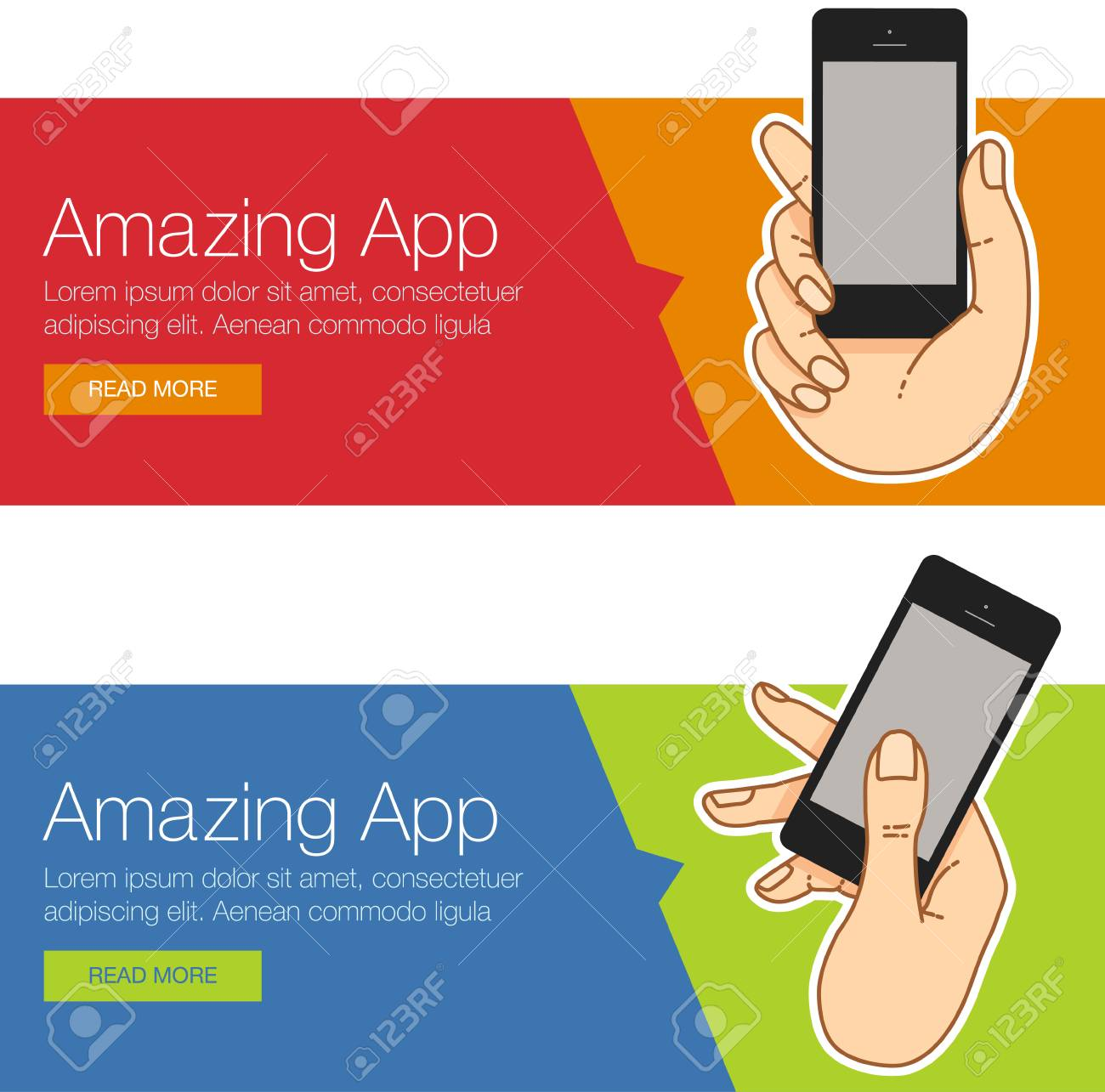 Flat Design Concept For Website Template Mobile App Smartphone Royalty Free Cliparts Vectors And Stock Illustration Image 59936589