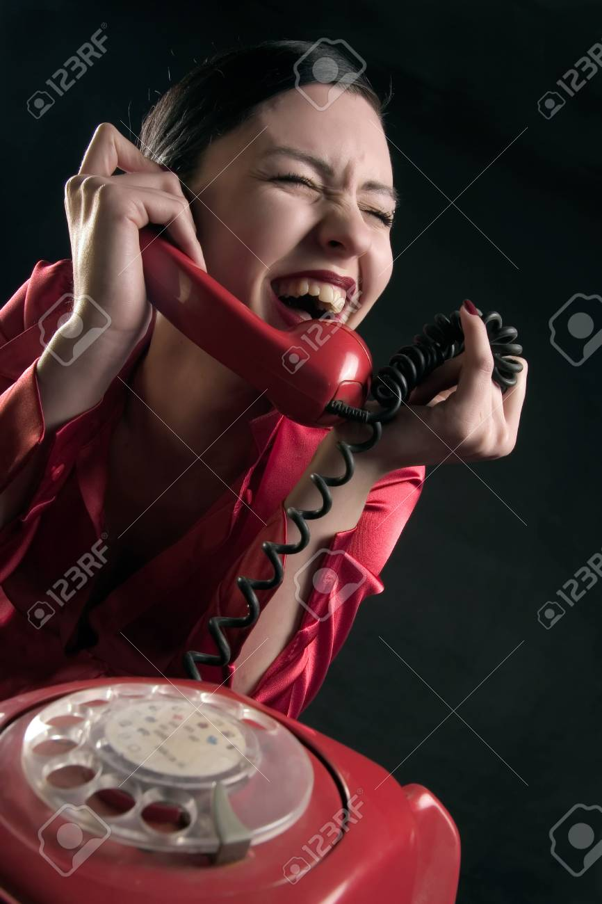 girl is smiling in the conversation by phone Stock Photo - 859013