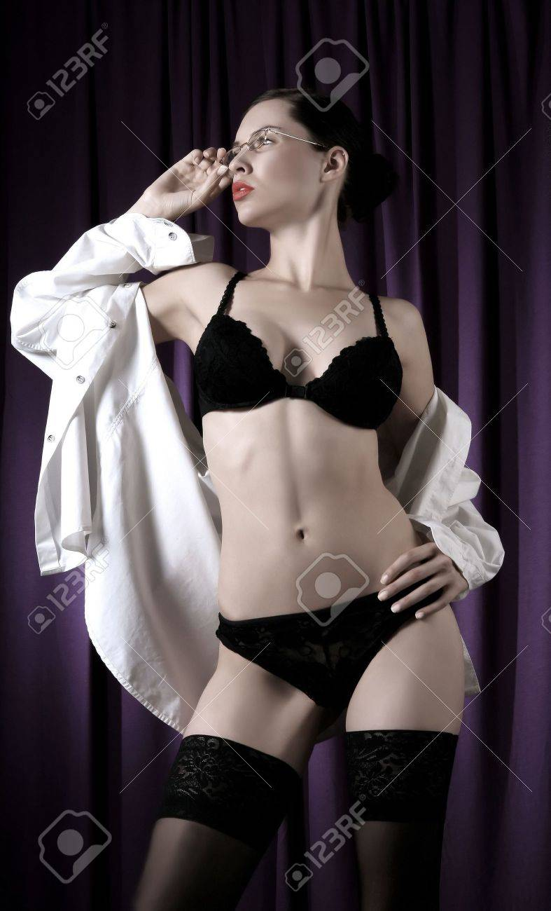 sexy black female model posing in erotic pose Stock Photo - 2068749