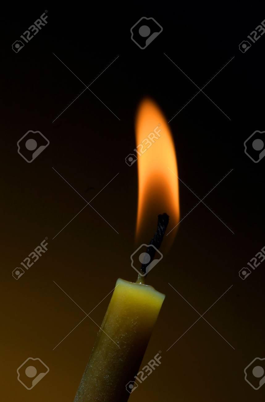 macro shot of a burning candle on black Stock Photo - 3049929