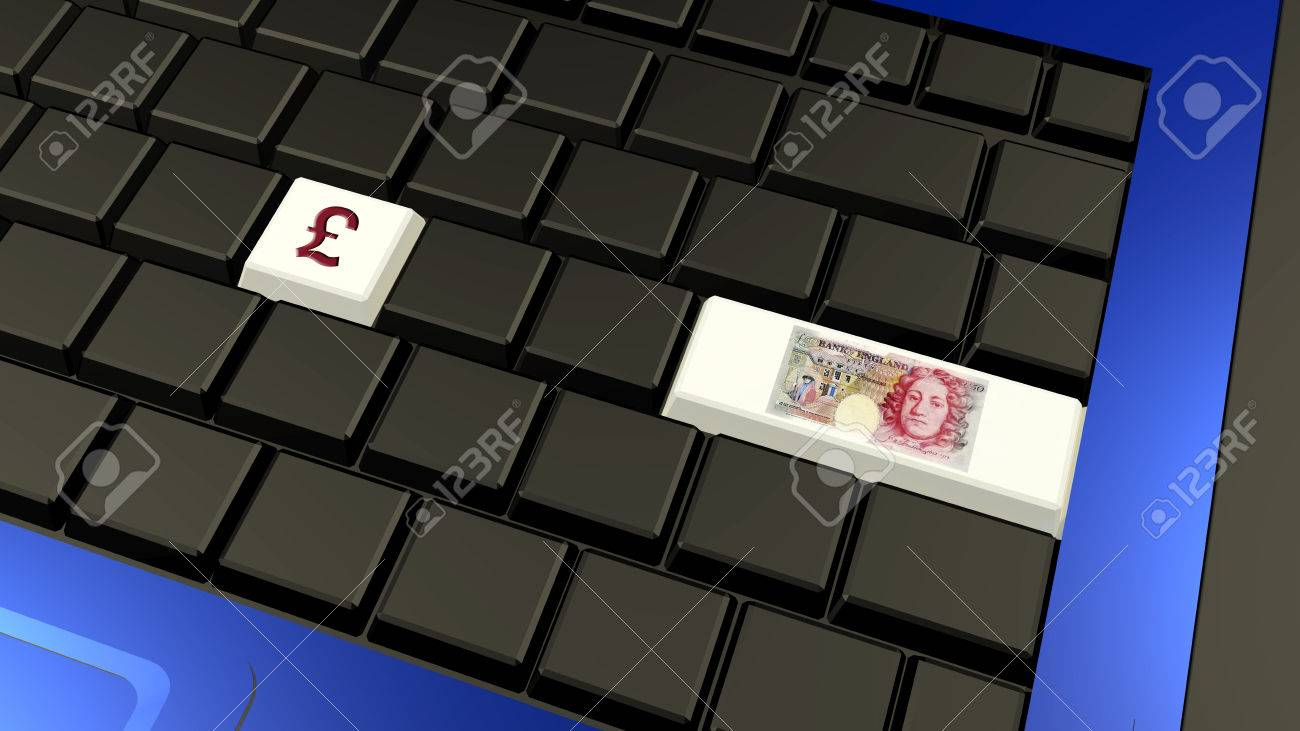 British Pound Banknote And Sign On The Laptop Keyboard 3d