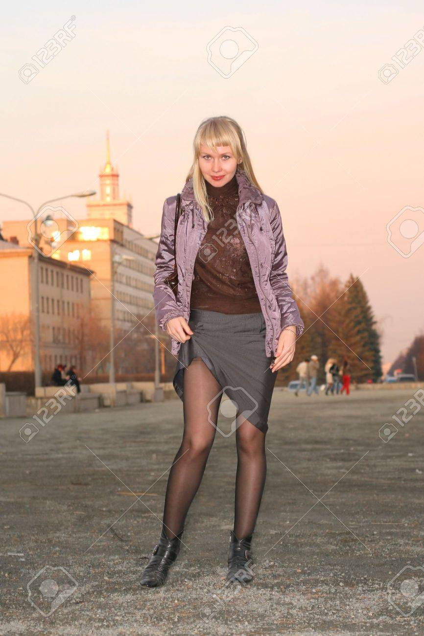 Girl student to stand on street in town ambience Stock Photo - 3756234