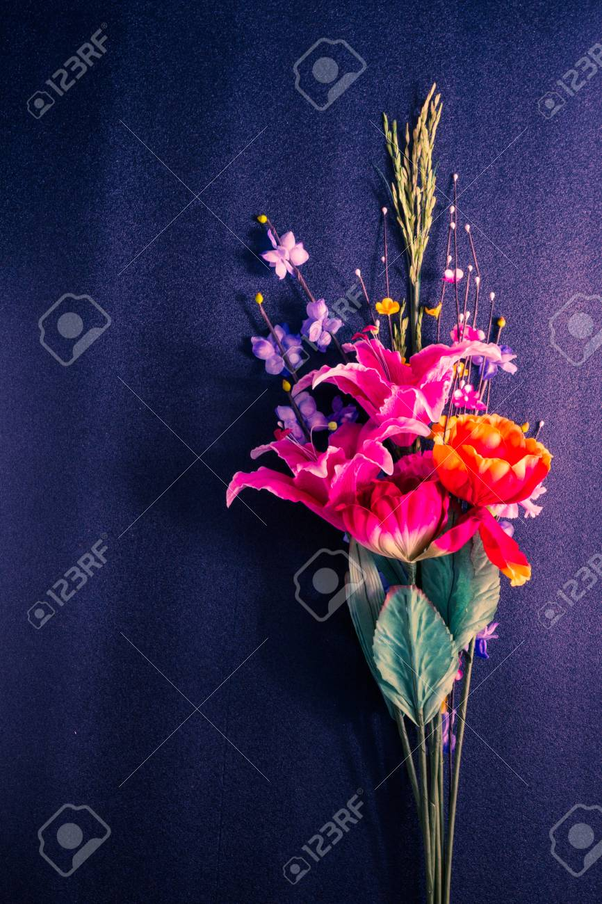 Fake Flowers Decorated On Blue Stock Photo Picture And Royalty Free