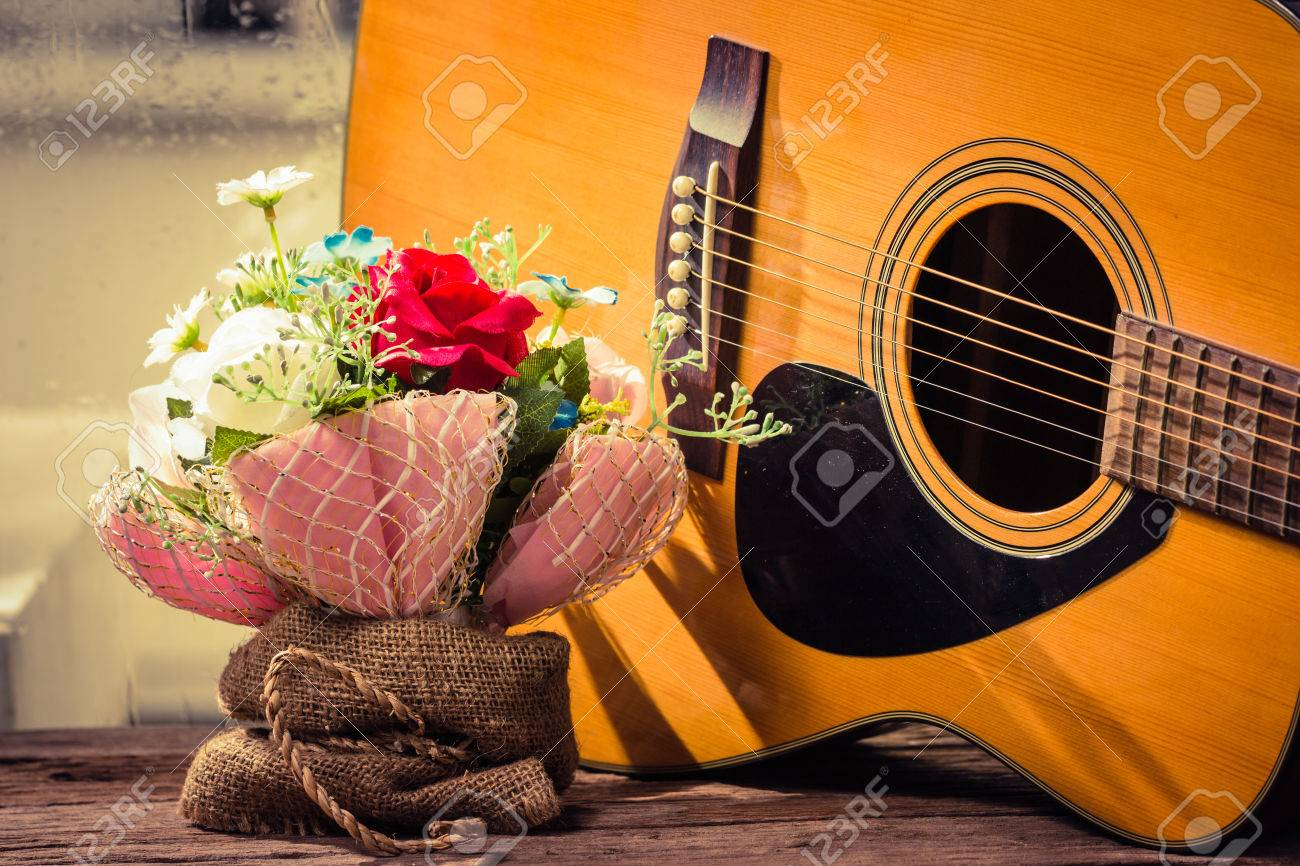 Colorful Flowers With Guitar Classic Stock Photo Picture And