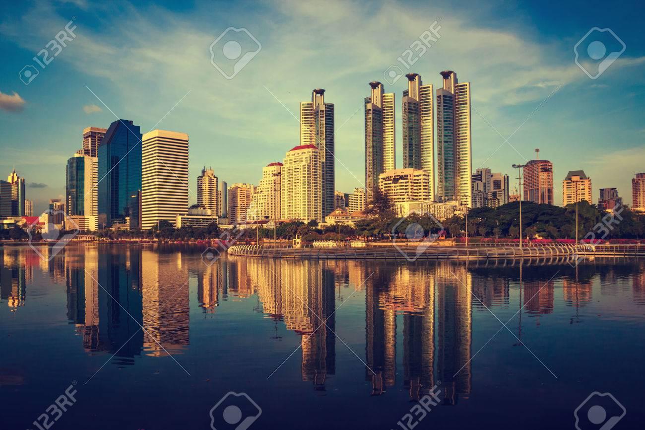 Bangkok, capital city of Thailand at sunset - 32423373