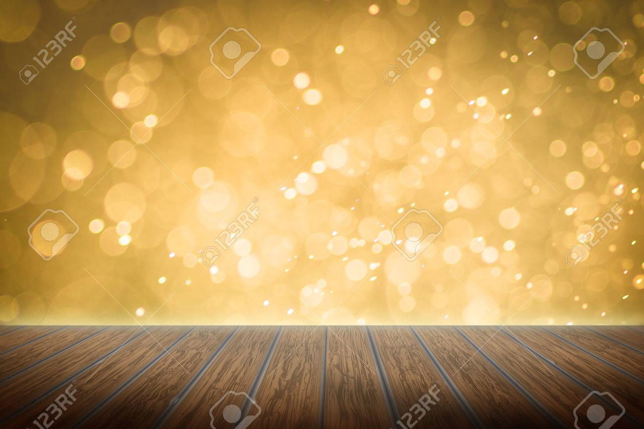 Empty perspective room with sparkling bokeh wall and wooden plank floor,Template mock up for display of your product - 35135902