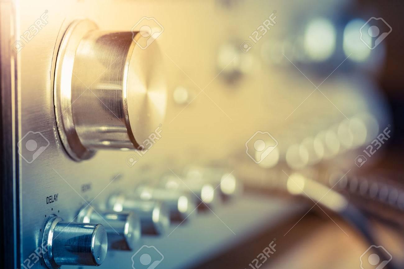 volume control knob of vintage hi-fi amplifier - 57953701