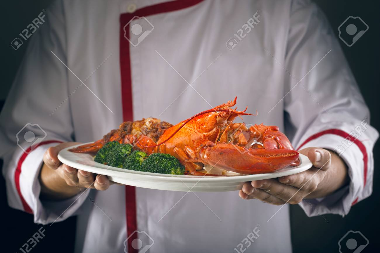 Lobster On Hands Chef Stock Photo ...