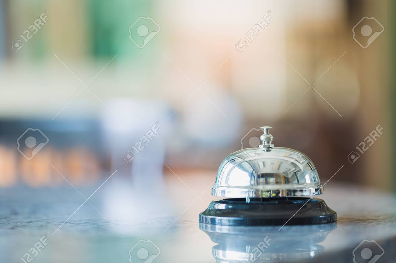 Bell on counter for service with blurred background - 134649914