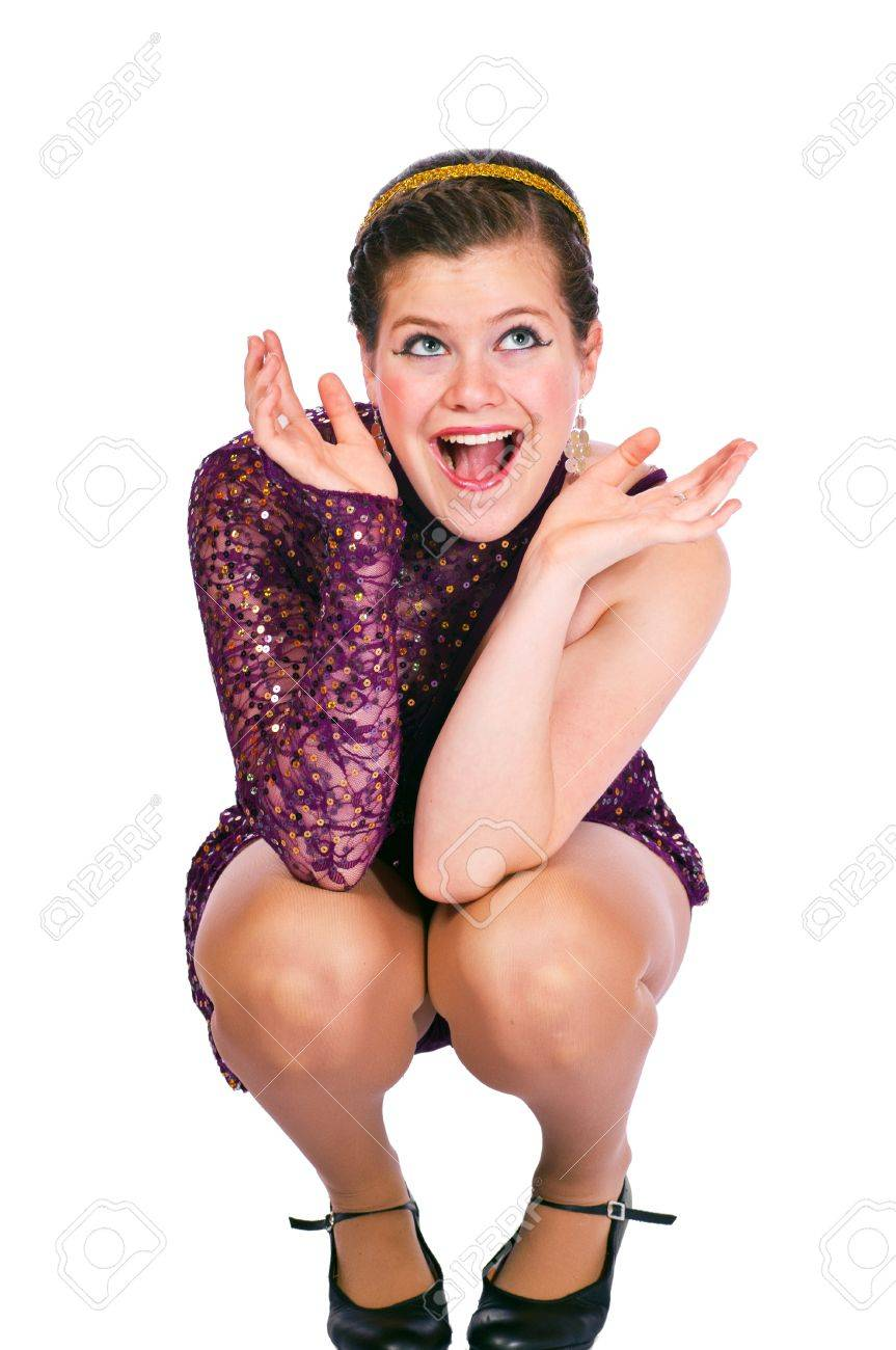 5e5011172 Teen Girl In Dance Costume Against White Background Stock Photo ...