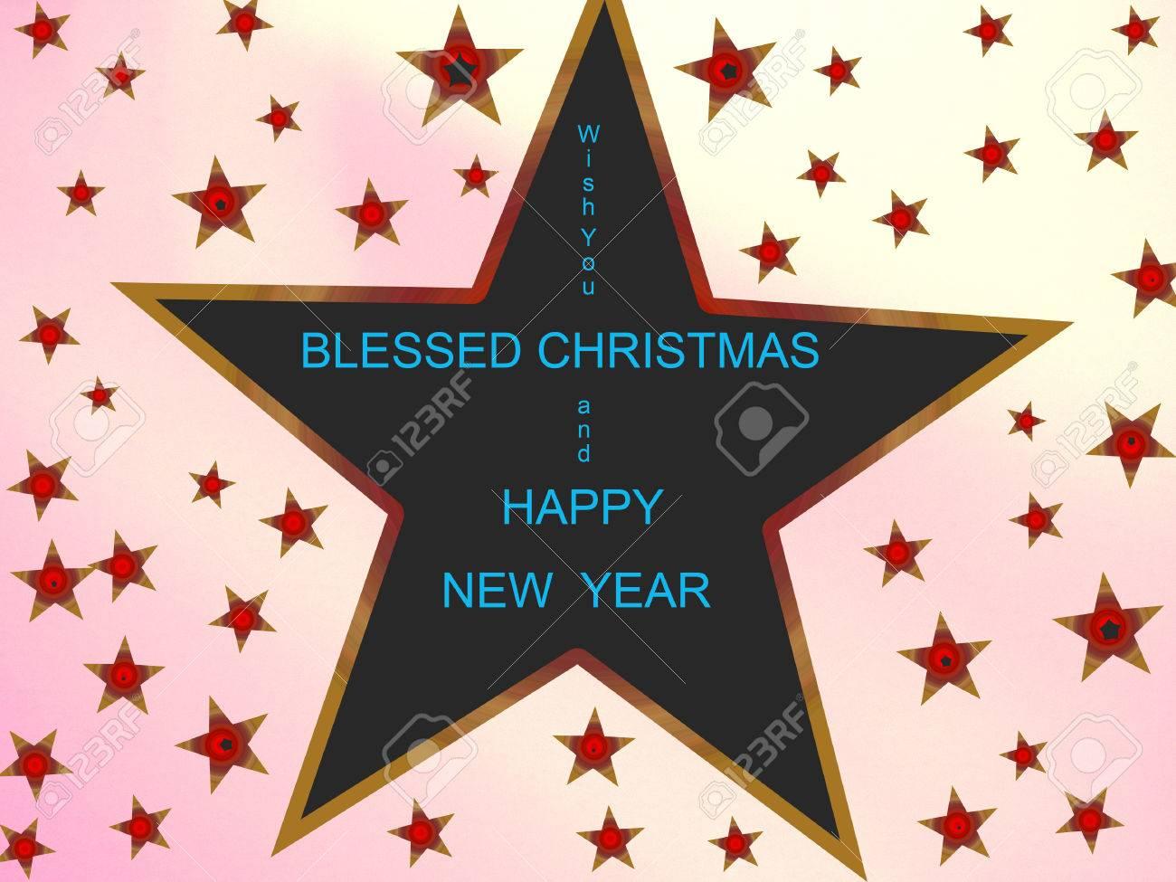 Gesegnete Weihnachten Und Ein Glückliches Neues Jahr Lizenzfreie ...